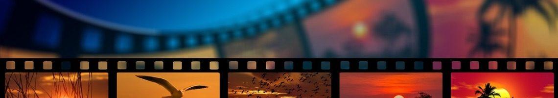 kleurigefilmstrip met vijf filmbeelden